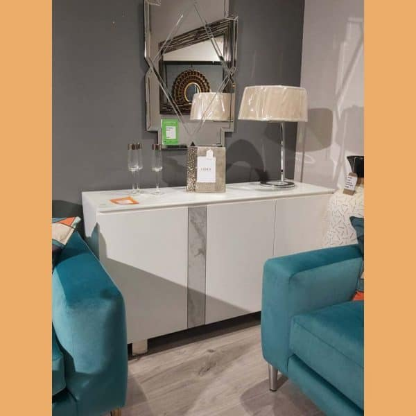 White Gloss Sideboard with Decorative Band